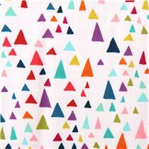 Tissu blanc gris In the Bloom Garden avec des triangles colorés Robert Kaufman