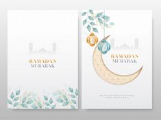 Ramadan Mubarak Cards With Crescent Moon, Hanging Lanterns And Leaves On Mosque Silhouette Background. Mosque Silhouette, Moon Silhouette, Happy Islamic New Year, Happy Muharram, Indian Invitations, Ramadan Background, Cartoon Wallpaper Hd, Calligraphy Text, Holiday Banner