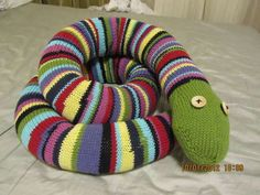 Enormous Stripey Knit Snake -- I really need to learn to knit.  :o)