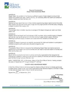 MOUNT VERNON, WA - Mayoral proclamation recognizing Diaper Need Awareness Week (Sep. 26th - Oct. 2, 2016) Diaperneed.org #Diaperneed