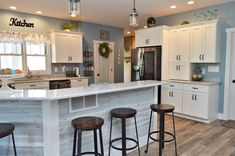 Bailey's Cabinets, Dura Supreme Cabinetry, Maple, White finish, Highland door style Kitchen Cabinetry, Baileys, White Cabinets, Supreme, Kitchens, House Design, Heart, Table, Inspiration