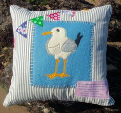 Seaside Seagull Cushion (Pillow) Cover pdf Pattern download. $4.50, via Etsy.