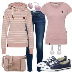 Chic look for everyday life from Naketano Ssweatpulli, pink Naketano shirt and Converse sneaker … outfit outfit outfit # spring # spring # - Women Fashion Komplette Outfits, Casual Outfits, Fashion Outfits, Fashion Trends, Fall Winter Outfits, Spring Outfits, Look Fashion, Winter Fashion, Fashion Women