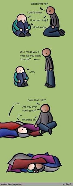 """I have seen so many pins on """"how to treat an introvert/INFJ"""" and things like that and they're full of bs. THIS is the best, most accurate one I think I will ever see. I might go as far as to make myself this nest on my living room and bedroom floor. Helping Someone With Depression, Depression Help, Depression Support, Depression Hurts, How To Battle Depression, How To Explain Depression, Pinstriping, Thoughts, Humor"""