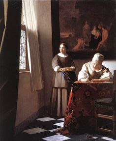 Lady Writing a Letter with Her Maid by Johannes Vermeer - OilPaintings.com #DIY