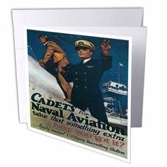 3dRose Vintage Cadets for Naval Aviation US Navy Recruiting Poster, Greeting Cards, 6 x 6 inches, set of 12