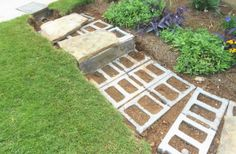 Building stone steps with a retaining wall—part two – Johntheplantman's stor. - Building stone steps with a retaining wall—part two – Johntheplantman's stories, musings, and - Flagstone Path, Stone Walkway, Sloped Backyard, Sloped Garden, Landscaping On A Hill, Landscaping With Rocks, Landscaping Ideas, Pergola Ideas, Stone Garden Paths