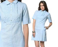 Mod Bib Dress 60s Light Blue Pinstripe Mini Peter Pan Collar 1960s Shift Vintage Nurse Uniform Pocket Short Sleeve MiniDress Medium M. $54.00, via Etsy.