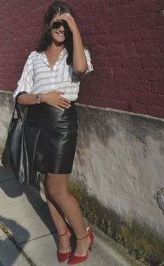 Affordable Style Blog // Striped Button Down and Leather Skirt