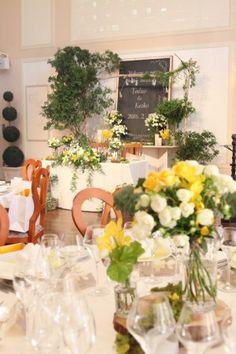 花どうらく/ウェディング/hanadouraku/http://www.hanadouraku.com/bouquet/wedding/メインテーブル/ブラックボード/メインバック/センターピース/ゲストテーブル/アーチ