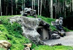 Awesome stone-facade underground home, very cave-like