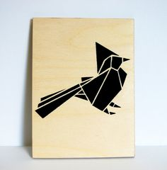 Origami Bird on plywood by Stencilize, Etsy.