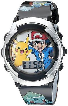 Pokemon Kids' POK3018 Digital Display Quartz Black Watch, FAST SHIP