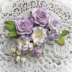 Reneabouquets New Item Listing~Lilac & White Curly Roses & Gardenias Mulberry Paper Flower Set. Shop for all your high quality, flowers here: http://www.Reneabouquets.com or here: http://www.etsy.com/shop/Reneabouquets