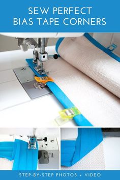 How to sew bias tape corners the easy way! Step-by-step tutorial for sewing pretty and perfect bias tape mitered corners. Techniques Couture, Sewing Techniques, Sewing Hacks, Sewing Tutorials, Sewing Tips, Sewing Ideas, Sewing Designs, Fat Quarter Projects, Leftover Fabric