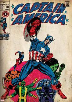 Marvel Comics Retro: Captain America Comic Book Cover with Hydra and Bucky (aged) Marvel Comics Poster - 30 x 46 cm Marvel Comics, Marvel E Dc, Marvel Comic Books, Fun Comics, Comic Books Art, Marvel Universe, Comic Superheroes, Marvel Avengers, Captain America Comic Books