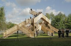 'The Endless Stair' installation, constructed on the bank of the River Thames as part of this year's London Design Festival, comprises 15 interlocking staircases demonstrating a new cross-laminated timber material. The installation was made by dRMM, and the parts can be reconfigured several ways.