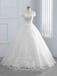 Gorgeous Cap Sleeves Sequins Lace-Up Ball Gown Wedding Dresses — Bridelily Long Wedding Dresses, Wedding Gowns, Lace Wedding, Elegant Wedding, Bridal Gowns, Elegant Gown, Mermaid Wedding Dress With Sleeves, Fashion Looks, Ball Gown