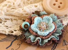 Brooch, textile, Mint items from this collection – shop online on Livemaster with shipping