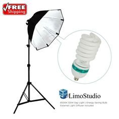 """(1) x Photography 86"""" Tall Light Stand. Energy Saving Compact Fluorescent Spiral Bulb - Saves energy up to 80%. - Silver Internal Face: Minimize Light Loss & Maximize Light Spread. - 2 Way Light Control: Soft Cover. 