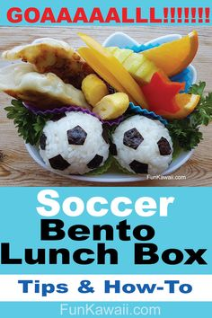 Soccer Bento Lunch Box for Kids. Great idea for kids who love soccer. School Lunch Inspiration, Creative Food, Fun Food. Soccer food ideas. World Cup inspired! #funfood #bento #CreativeFood #football #SchoolLunchBox #soccer #soccerfoodideas #worldcup
