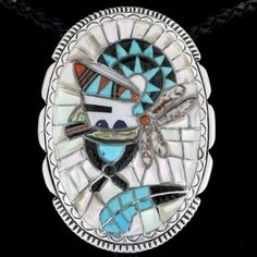 Inlaid Turquoise Zuni Bolo Tie 24109  | Alltribes