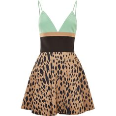Fausto Puglisi Leopard And Green Printed Mini Dress ($2,547) ❤ liked on Polyvore featuring dresses, leopard dress, v neck dress, v neck mini dress, circle skirt and short green cocktail dress