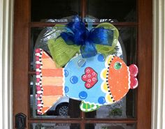 Fun Fish Door Hanger  Bronwyn Hanahan by BronwynHanahanArt on Etsy, $45.00