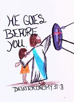 Scripture Doodle, Scripture Art, Bible Art, Bible Verses Quotes, Bible Scriptures, Deuteronomy 31 8, Psalms, You Are My Superhero, Bibel Journal