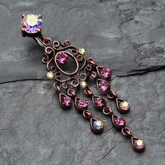 Fuchsia Vintage Burnish Rustica Chandelier Belly by BM25Jewelry