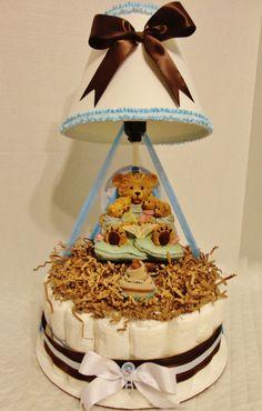 Cute Lamp Bear Diaper Cake by GABYOLYSCREATIONS on Etsy, $69.00
