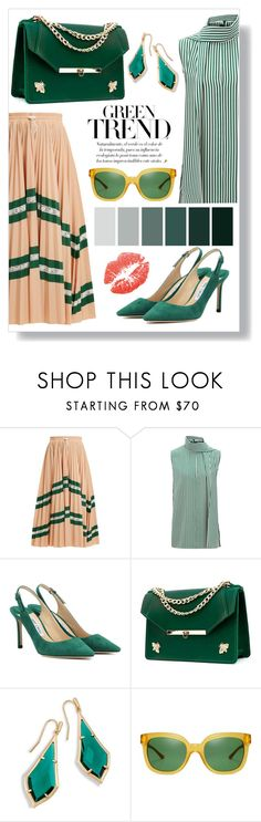 """GREEN TREND"" by amltra ❤ liked on Polyvore featuring Valentino, Joseph, Jimmy Choo, Angela Valentine Handbags, Tory Burch and emeraldgreen"