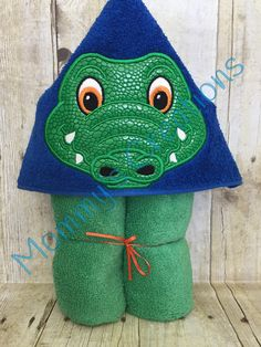 "Alligator Boy Applique Hooded Bath, Beach Towel, Cover Up 30"" x 54"" by MommysCraftCreations on Etsy"