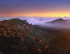 Tim Fitzharris - Sunrise and crescent moon overlooking Haleakala Crater, Maui, Hawaii - art prints and posters