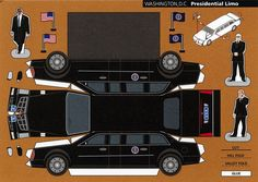 Make City, Washington D., Presidential Limo - Cut Out Postcard Paper Model Car, Paper Car, Paper Toys, Cadillac, New Survivor, Free Paper Models, Cardboard Car, Paper Houses, Printable Paper