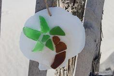 Sea Glass Palm tree, Atlantic Sea Scallop Ornament