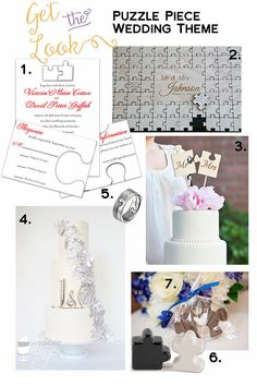Get The Look: Puzzle Piece Wedding | Invitations, Guest Book, Cakes, Cake Toppers, Favors and Rings | Links inside post.