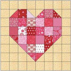 Heart Quilt Pattern, Patchwork Quilt Patterns, Heart Patterns, Pattern Blocks, Patchwork Ideas, Quilting Patterns, Patchwork Heart, Crazy Patchwork, Patchwork Fabric