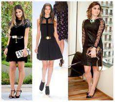 7_O que vestir na festa da empresa na balada_look festa de confraternização da empresa_vestido preto com cinto dourado_vestido preto com manga de renda