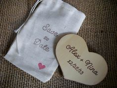 Rustic Wedding Save the Date Wood Heart Magnets with Muslin Bag - Set of 10 - 3x5 - Item 1554