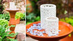 Flowerpot Birdbath and Lantern