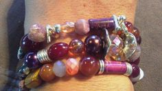 One of a Kind Burgundy and Purple beadpainting Necklace and Bracelet in One by LoisWagnerOriginals on Etsy