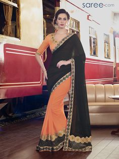 a974567507 BLACK AND ORANGE CHIFFON SAREE WITH EMBROIDERY WORK Designer Sarees Online  Shopping, Latest Designer Sarees