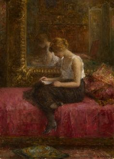 "Literary Pursuits of a Young Lady. Alexei Alexeivich Harlamoff (Russian Academic Painter 1842-1922). Oil on canvas. Private collection. Harlamoff learned his skills by copying Old Master painters such as Rembrandt. He also became a respected portrait painter, with such important sitters as Tsar Alexander II. Perhaps Harlamoff's most beloved subjects were informal portraits of peasant girls ""whom he painted for their beauty and innocence."""