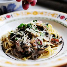 pasta with whiskey, wine, and mushrooms!