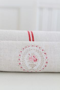 Scarlett ~ Antique Stone & Ruby (cream linen) ~ £54.00 - Peony & Sage