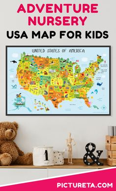 Create adventure nursery for your baby with Pictureta's USA map. I wish I had this map when growing up. It is full of adorable animals and famous landmarks and looks awesome in my baby's nursery. Get yours at PICTURETA. Nursery World, Nursery Wall Art, Ocean Nursery, Animal Nursery, Nursery Decor, Electronics Projects, State Map Of Usa, Galaxy Note, Travel Nursery