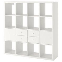 KALLAX Shelf unit with 4 inserts, high-gloss/white, cm. Find it here - IKEA Ikea Regal, Ikea Kallax Regal, Cube Ikea, Ikea Cubes, Ikea Kallax Shelf Unit, Ikea Shelves, Kallax Insert, Painted Drawers, Ikea Drawers