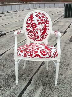 Red Damask Upholstered French Louis XVI Bergere Accent Red & White Armchair Custom Made by Heather Throne Upholstery on Etsy, $589.00