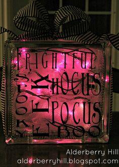 Halloween Glass Blocks with Lights - Alderberry Hill | Alderberry Hill
